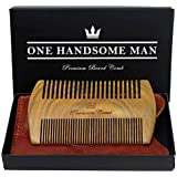 Beard Comb Kit by One Handsome Man - Sandalwood Beard Comb with Leather Travel Pouch and Gift Box - Perfect Gifts For Boyfriend or Valentines Gift For Men - Benefits NONPROFIT Military Vets