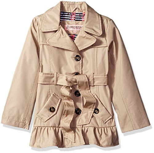 Urban Republic Little Girls' Ruffle Hem Trench Jacket, Sandshell, 5/6