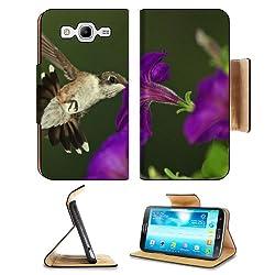 Purple Flower Nature Birds Hummingbird Samsung Galaxy Mega 5.8 I9150 Flip Case Stand Magnetic Cover Open Ports