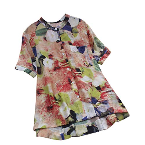 Goddessvan Women's Ladies Halo Dyeing Colorful Blooming Print Sexy Short Sleeve Shirt Pullover Tops Blouses Red