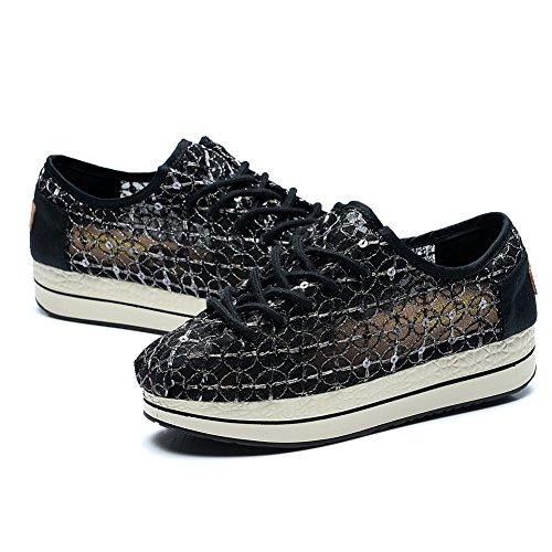 Holle Slip Van Tiosebon Dames Op Sneakers - Ademende Flatform Flats Schoenen 6687 Zwart
