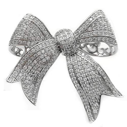 Pave Bow Pin (DREAMLANDSALES Victorian Vintage Full Micro Pave Ribbon Bow Brooches Silver Tone)