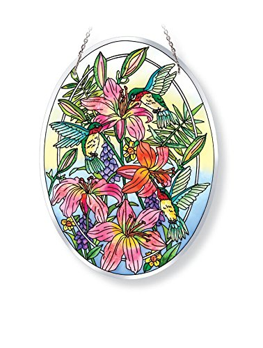 Amia 42121 Hand-Painted Glass Hummingbird Beveled Glass Large Oval Suncatcher, 9