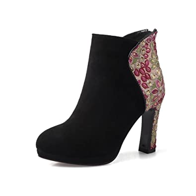 KingRover Women's Zipper Embroidery Sexy Pointed Toe High Heel Ankle Boots KMZSRZSM