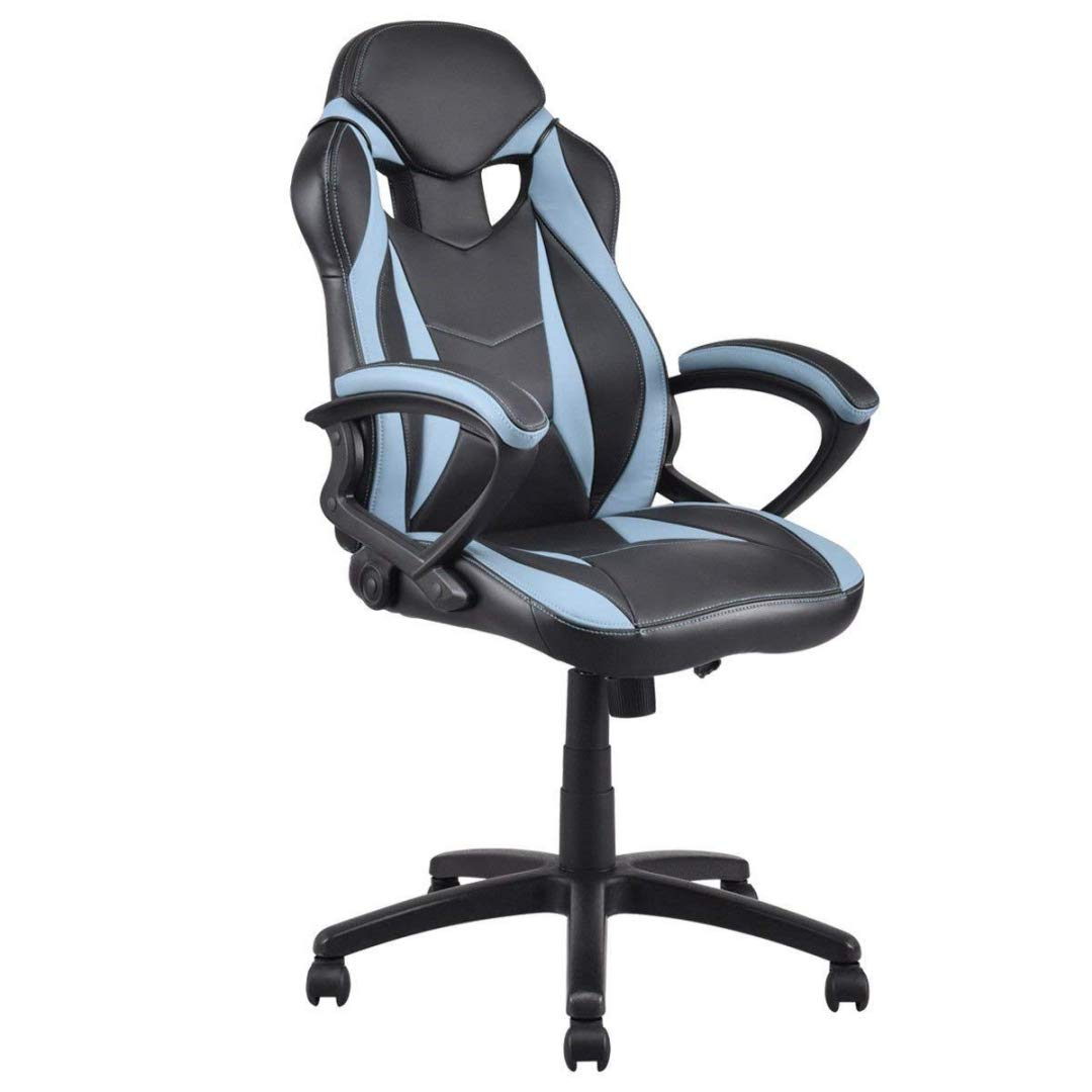 Modern Style High Back Gaming Chairs 360-Degree Swivel Design Desk Task PU Leather Upholstery Thick Padded Seat Posture Support Home Office Furniture - (1) Dark Grey/Black #2123 by KLS14