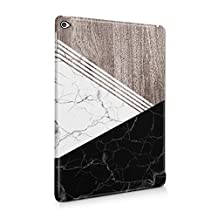 White & Black Cracked Marble & Oak Wood Blocks Hard Plastic Tablet Case For iPad Air 2