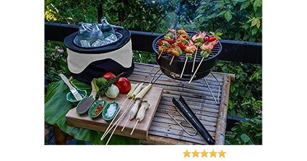 Barbacoa de viaje con bolsa térmica y rejilla portátil camping viaje: Amazon.es: Jardín