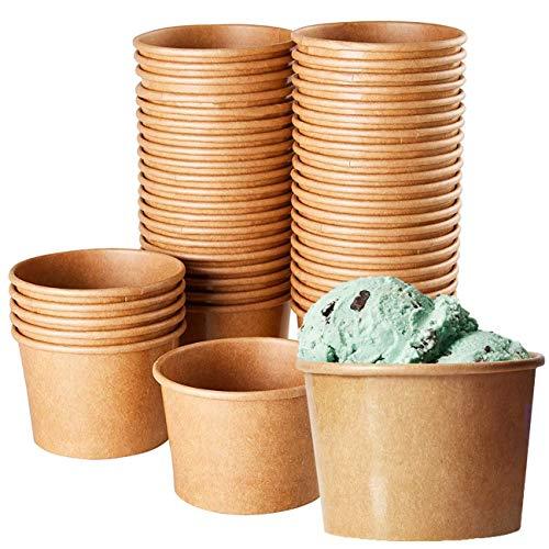 Ice Cream Sundae Cups (100 Pack) Disposable Kraft Paper Dessert Frozen Yogurt Bowls 8-Ounce, -
