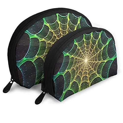 Art Fractal Spider Webs Halloween Cosmetic Bag - 2 Piece Set Makeup Travel Pencil Pen Case Storage Portable]()