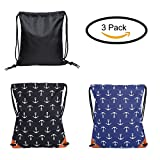 Gym Bag Canvas Leather Reinforced Corners Drawstring Backpack for Women Men (3 Pack)