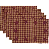 VHC Brands Primitive Classic Country Tabletop & Kitchen Star Placemat Set of 6, Burgundy