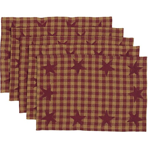 VHC Brands Primitive Tabletop Kitchen Cody Burgundy Cotton Appliqued Star Rectangle Placemat Set of 6 Red ()