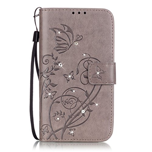 - IKASEFU Bling/Glitter/Diamond Pu Leather Butterfly Flower Pattern Folio Wallet Flip Protective Case Cover with Strap/Rope Compatible with Samsung Galaxy J7 2016-Butterfly,Grey