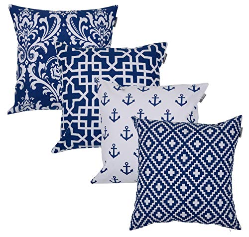 Cotton Cover Blue Cushion - ACCENTHOME Accent Home Square Printed Cotton Cushion Cover,Throw Pillow Case, Slipover Pillowslip for Home Sofa Couch Chair Back Seat,4pc Pack 18x18 in Royal Blue Color