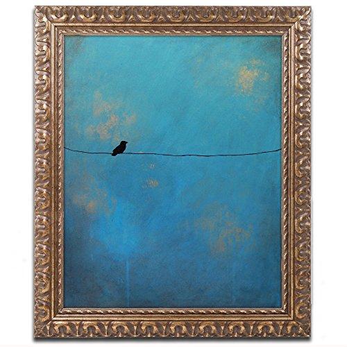 Trademark Fine Art Lone Bird Blue Art by Nicole Dietz in Gold Ornate Frame, 16 by 20-Inch