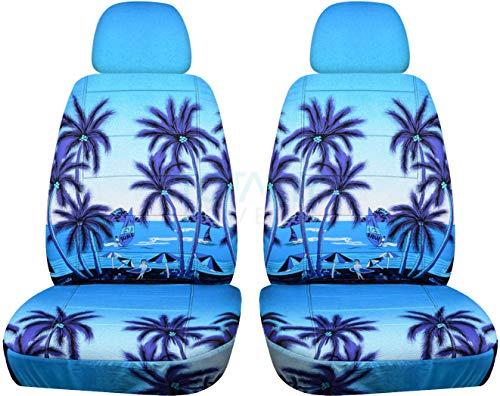 Hawaiian Print Car Seat Covers w 2 Separate Headrest Covers: Blue w Palm Tree - Semi-Custom Fit - Front - Will Make Fit Any Car/Truck/Van/SUV (6 Prints)