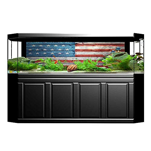 "Muyindohome 3D Aquarium Background Decor Independence Day of National Celebration Weathered Wooden Looking Flag Picture Blue Fish Tank Wall Decorations Sticker 29.5""x11.8"""