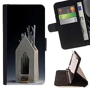 BullDog Case - FOR/Samsung Galaxy S5 Mini, SM-G800 / - / HOUSE MODERN ART WOOD TREE SYMBOLIC /- Monedero de cuero de la PU Llevar cubierta de la caja con el ID Credit Card Slots Flip funda de cuer