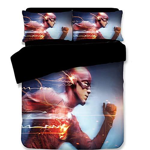 AMTAN 3D The Flash Duvet Cover Set DC Comics The Superhero Series Bedding 100% Polyester Fiber Kids Bed Set 3PC 1Duvet Cover, 2Pillow Case King Queen/Full Twin Size (Duvet Cover Series)