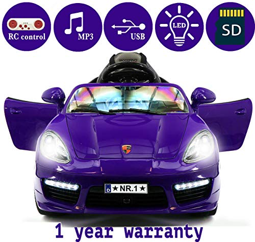 2018 PORSHE BOKSTER STYLE 12V ELECTRIC KIDS RIDE-ON CAR TOY WITH R/C PARENTAL REMOTE, LED WHEELS, REMOVABLE BABY TRAY TABLE, 5 POINT SAFETY HARNESS (1 YEAR WARRANTY) | PURPLE METALLIC