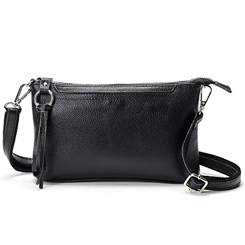 SCIEN Women Small Leather Crossbody Purse Zipper Clutch Wallet Cell Phone Bgas,Black by SCIEN