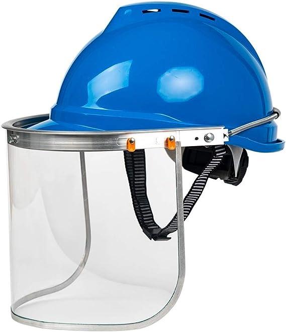 Casco de trabajo QTCWRL Casco De Seguridad En El Trabajo, Construcción De Parachoques De Casco, Máscara De Seguridad Y Visera Ancha (Color : Blue)