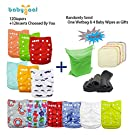 Babygoal Baby Adjustable Reuseable Pocket Cloth Diaper 12pcs Diapers + 12pcs Charcoal Bamboo Inserts 12fn47-3