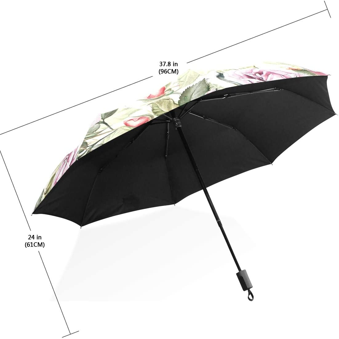Waterproof Umbrella Sun Block Easy Carry Compact Windproof Parasol Floral Pattern With Flowers And Butterfly