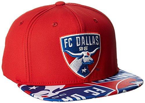 - MLS FC Dallas Adult Men MLS SP17 Fan Wear Script Logo Flat Brim Snapback,OSFM,Red