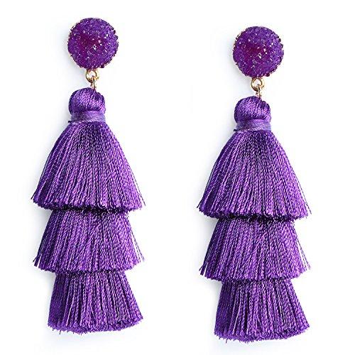 Me&Hz Purple Layered Tassel Earrings Tiered Thread Dangle Earrings Bohemian Statement Tassel Drop Earrings for Women