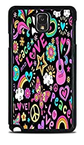 Psychedlic Peace & Love Design Black Hardshell Case for Galaxy Note 3