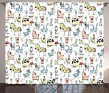 Ambesonne Animal Decor Curtains, Cute Cow Horse Pigs Chicken Sheep Farmhouse Mascots Kids Nursery Baby Cartoon Print, Living Room Bedroom Window Drapes 2 Panel Set, 108W X 63L Inches, Multi