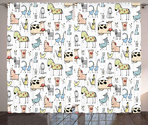 Ambesonne Animal Decor Curtains, Cute Cow Horse Pigs Chicken Sheep Farmhouse Mascots Kids Nursery Baby Cartoon Print, Living Room Bedroom Window Drapes 2 Panel Set, 108W X 63L Inches, Multi by Ambesonne