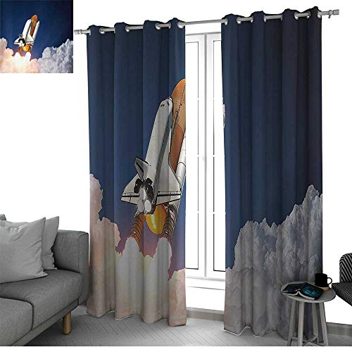 bybyhome Outer Space Decor Window Curtains for Living Room Space Rocket Lifting Through The Clouds Blast Explore The Galaxy ISS Photo Bedroom Curtains White Blue Orange W108 x L96 Inch - Jeff Gordon Sheet Set