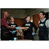 Criminal Minds 8 x 10 Photo Derek Morgan, Jennifer Jarea, Alex Blake & David Rossi in FBI Vests at Crime Scene kn
