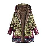 Womens Winter Warm Outwear Duseedik Floral Print Hooded Pockets Vintage Oversize Coats Plus Size Down Jackets