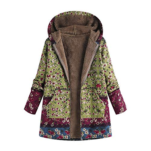 XOWRTE Women's Floral Print Vintage Oversize Winter Warm Hooded Jacket Cardigan Overcoat Outwear Coat with Pockets