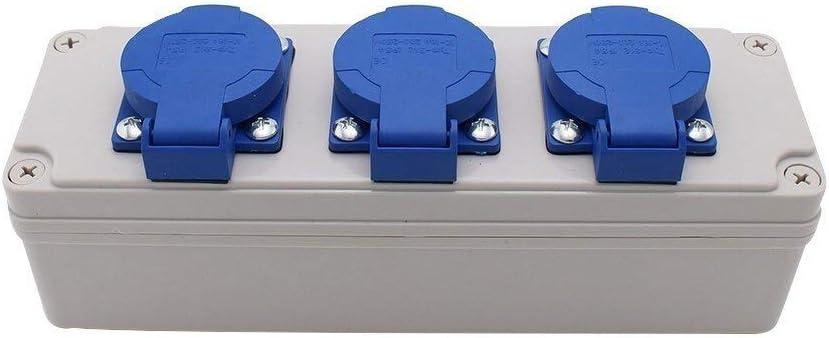 Enchufe Caja de enchufes IP54 a prueba de agua con conector de cable Caja de enchufes a prueba de lluvia multifuncional for exteriores Cajas de enchufes de plástico 3 agujeros 10A: Amazon.es: