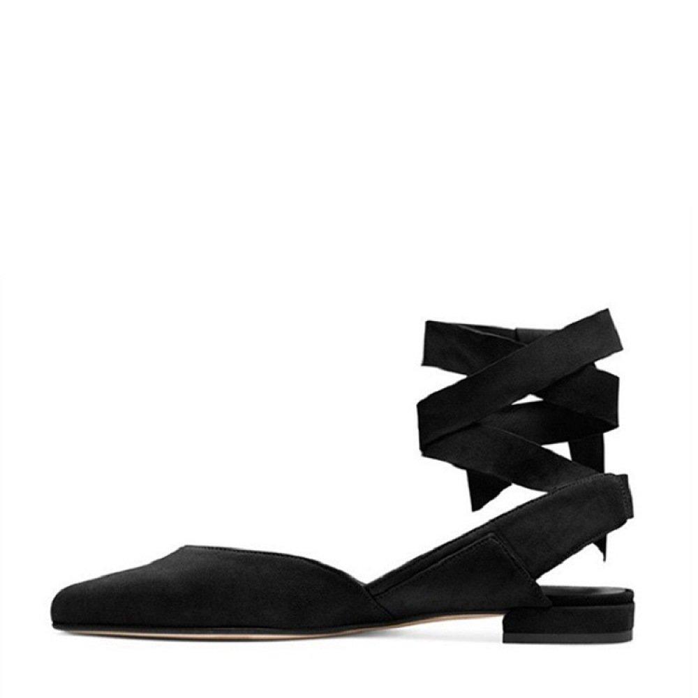 Ximu Ximu Ximu Sommer Neue Spitzen Flachen Sandalen Bandagen Matte Frauen Schuhe Plateau Pumps Elegant schwarz 196c5c