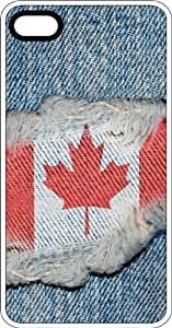 Canadian Flag Sewn On Blue Jeans Clear Rubber Case for Apple iPhone 5 or iPhone 5s