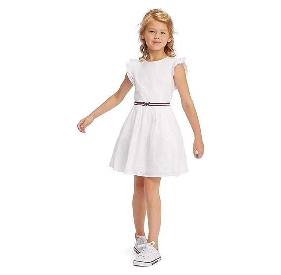 promo code 66690 b6f15 Tommy Hilfiger KG0KG04271 Abiti Bambina Bianco 14A: Amazon ...