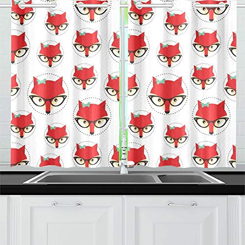 - YUMOING Cute Fox Kitchen Curtains Window Curtain Tiers for Café, Bath, Laundry, Living Room Bedroom 26 X 39 Inch 2 Pieces