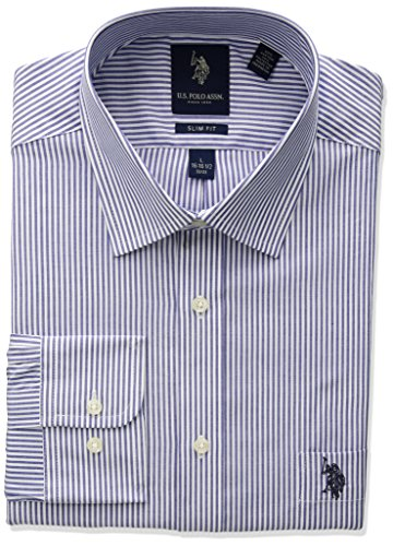 - U.S. Polo Assn. Men's Slim Fit Striped Semi Spread Collar Dress Shirt, Bengal Blue/White, 15