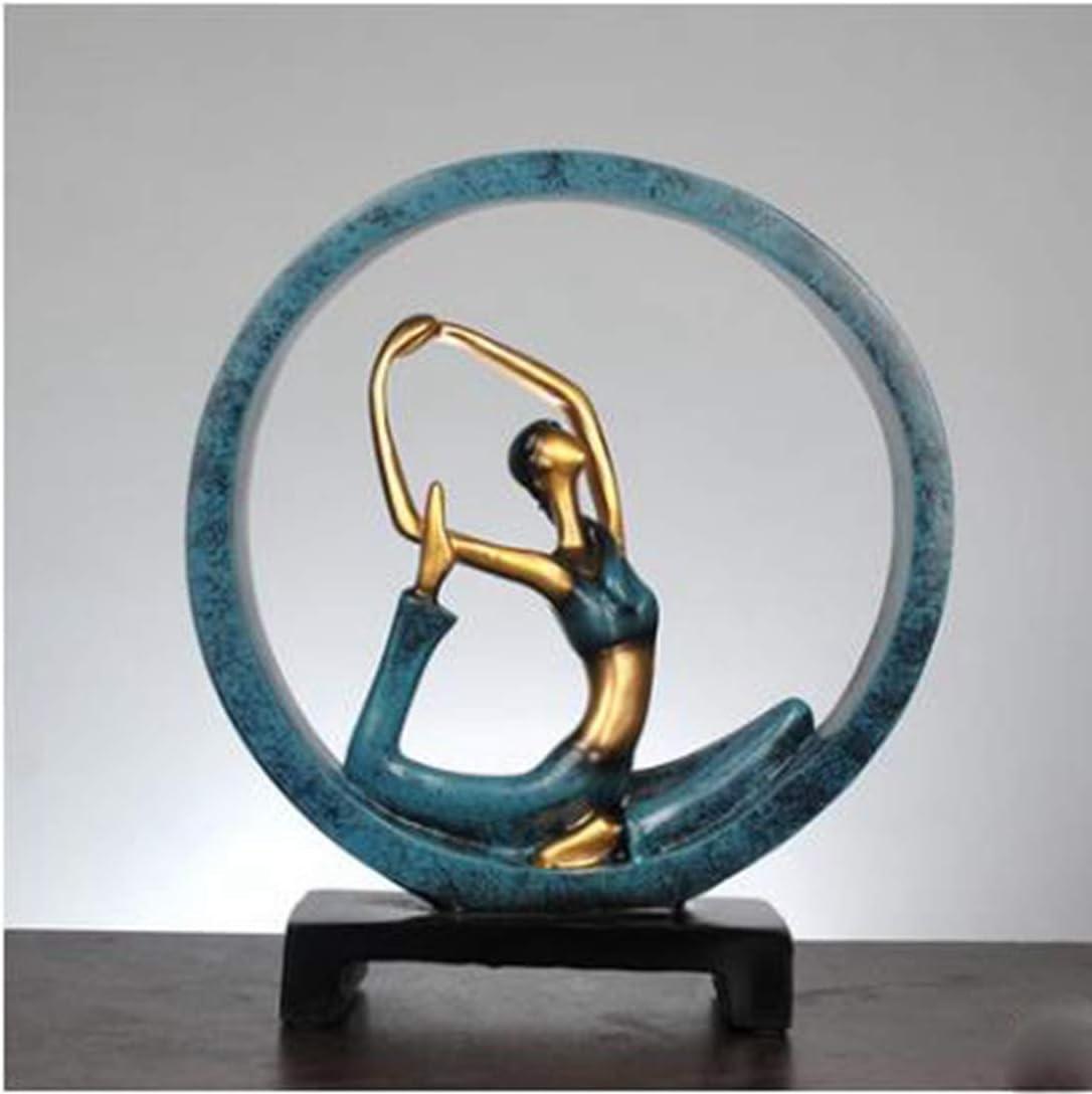 GEPIJPGEKH Modern Abstract Sculpture Resin Yoga Pose Statue Yoga Girl Model Lady Figurines Home Yoga Studio Decor Ornaments