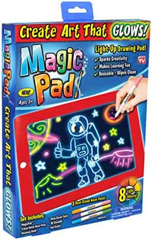 Ontel Magic Pad   Light Up LED Board   Draw, Sketch, Create, Doodle, Art, Write, Learning Tablet   Includes 3 Dual Side Markets, 30 Stencils and 8 Colorful Effects, As Seen on TV (MAPA-MC12/6)