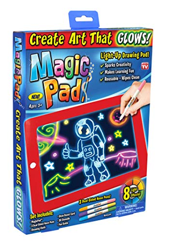 Ontel Magic Pad | Light Up LED Board | Draw, Sketch, Create, Doodle, Art, Write, Learning Tablet | Includes 3 Dual Side Markets, 30 Stencils and 8 Colorful Effects, As Seen on TV (MAPA-MC12/6) ()