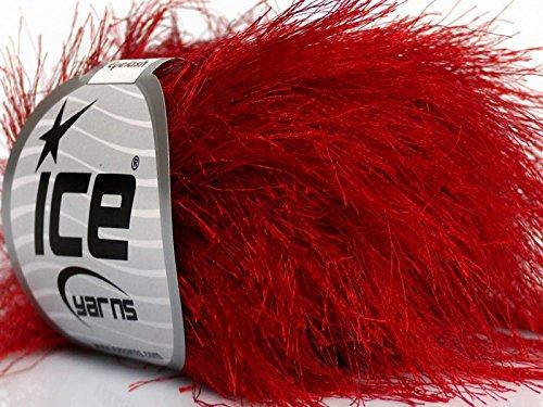 Eyelash Yarn Long (Absolutely Red Long Eyelash Yarn Ice Luxurious Fun Fur 50gr 38yds)