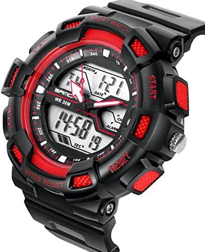 DualTime Digital Analog Water Resistant Outdoor Sport Chronograph Wrist Watch for Kids Boys Black+Red
