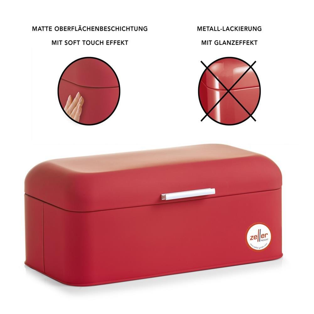 colore rosso Scatola per il pane in metallo 42 x 23 x 16,5 cm