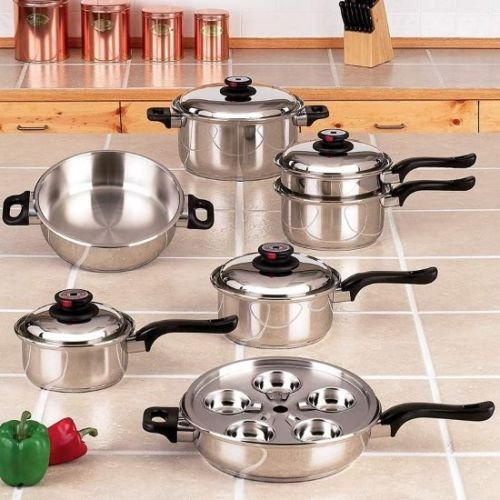 17pc Stainless Cookware Set (17pc T304 Cookware Set Stainless Steel 7-Ply Steam Control Pots Pans Cooking set)